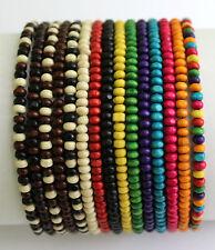 Mens Wooden Bead Tribal / Surfer Elastic Bracelet - 4x3mm beads - 15 Colours NEW