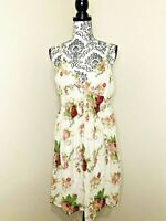 PORTMANS White Pretty Floral Size 14 Silk Fit & Flared Pleated Lined Midi Dress
