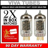 New Gain Matched Pair (2) Genalex Reissue 12AT7 ECC81 GOLD PINS Vacuum Tubes