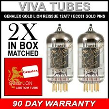 New Gain Matched Pair (2) Genalex Reissue 12AT7 ECC81 GOLD PINS Vacuum Tubes