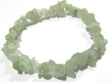 Natural Green Jade Chip Stretchy Bracelet Uncut Nugget 6mm To 9mm 7 Inches long