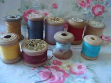 9 Vintage  Small Wooden Reels Thread  Mix Colours / Mix Makes