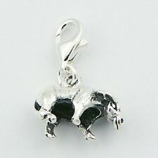 Silver charm chinese zodiac ox 925 silver charm w lobster clasp 18mm height  PSA