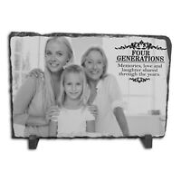 Personalised Four Generations Family Rock Slate - Rectangle Large