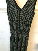 Torn by Ronny Kobo Womens A Line Dress Black Green Stars Size Small Cute!!!