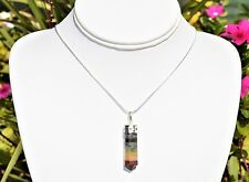 "Faceted 7 Chakra Crystals Point Pendant + 20"" Silver Chain"