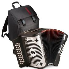 Hohner Panther Button Acordeon Black FBE/ FA 31 Button Accordion & Bag & Straps