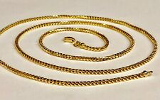 "18KT Solid Gold Franco Curb Box Link 26"" 2 mm 18 grams PENDANT chain Necklace"