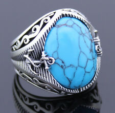 Solid 925 Sterling Silver Sailor's Anchor Oval Turquoise Stone Men's Ring
