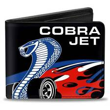 Men Wallet Bifold COBRA Logo Ford Mustang Logo Black Blue White Red Genuine