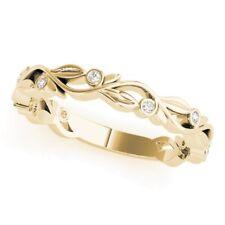 New Ladies 14k Yellow Gold Diamond Vine Leaf Shaped Wedding Band Ring