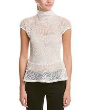GRACIA Sheer Mesh Peplum Blouse With Ribbon Detailing $76 Retail Size S NEW