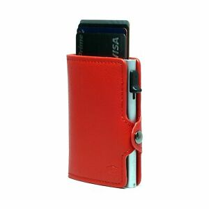 Card Blocr Credit Card Wallet Saffiano Red PU Leather and Silver Metal Wallet