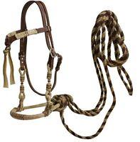 Western Horse Bosal Hackamore Bridle Headstall w/ Real Horse Hair Mecate Reins