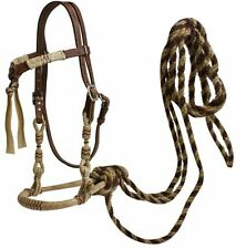 WESTERN HORSE LEATHER SHOW BOSAL BRIDLE HEADSTALL W/ REAL HORSEHAIR MECATE REINS