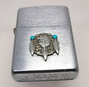 2002 Zippo Lighter Sealed Unfired Dream Catcher Applique Turquoise Indian Eagle