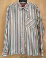 Mens Fat Face Shirt Size Large Long Sleeved 100% Cotton Pink Blue Striped
