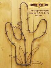 Cactus & Flower - handmade metal decor barbed wire art abstract artist sculpture