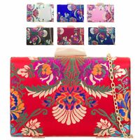Ladies Floral Satin Clutch Bag Ethnic Flower Evening Box Purse Handbag KZ2133