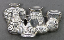 Sterling Silver Southwestern Theme Stamped Pots Pottery Pin Brooch