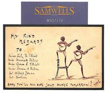 Ms2574 1899 Gb Hand-Illustrated Brighton *Minstrels* Stationery Card Music Dance