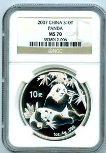 2007 1 OZ SILVER PANDA CHINA NGC MS70 10 YN .999 FINE S10Y CHINESE RARE !!