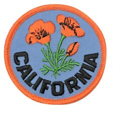 "California Poppy Patch 2.5"" - Official Flower of CA (Embroidered Iron or Sew on)"