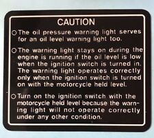 KAWASAKI Z1300 KZ1300 PETROL TANK GAS TANK OIL PRESSURE CAUTION WARNING DECAL