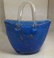 Vintage Hand Blown Murano Style Art Glass Handbag/Purse  Vase