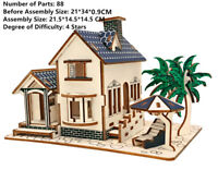 New Assembly DIY Education Toy 3D Wooden Model Puzzles Of Beach Villa House