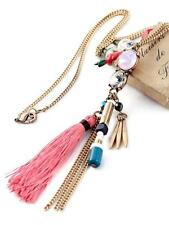 G9 Tassel Glass Crystal Charm NECKLACE Burnished Gold Tone NEW