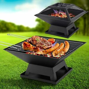 FIRE PIT FIREPIT BRAZIER SQUARE STOVE PATIO HEATER W BBQ GRILL OUTDOOR GARDEN