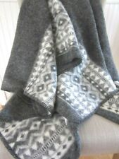 "ICELANDIC WOOL NORDIC PATTERN THROW BLANKET ~ Gray  and Ivory ~ 54"" x 56"" ~ NEW"