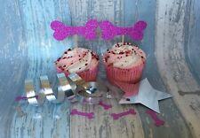 12 Dog Bone Shaped Pink Glitter Cake Picks / Cupcake Toppers Birthday Cake