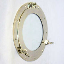 "New Solid Brass Ship's Cabin Porthole Window 14"" Round Glass Nautical Wall Decor"