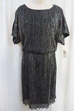 Connected Apparel Dress Sz 8 Black Silver Cold Shoulder Cocktail Blouson Dress