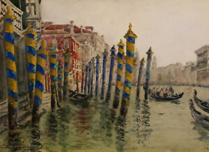 Charles Toché French Watercolor Drawing Painting Venetian Scene Venice Italy Art