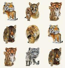 Big Cats Panel Cotton Quilting Fabric Elizabeth's Studio Tiger Lion Cheetah