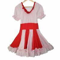 Homemade Pin-Up Polka Dot Ruffle Dress Seersucker V-Neck Fit & Flare Red/White