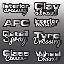 8x Assorted Car Detailing Vinyl Bottle Decal Sticker Label Kit Valeting Cleaning