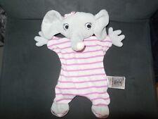 219/ doudou plat éléphant gris rose rayé fille H&M H et M
