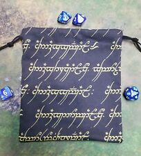 Lord of the Rings Elvish In Gold Dice Bag, Card Bag, Makeup Bag