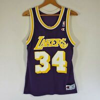 Vtg CHAMPION Los Angeles Lakers Shaquille O'Neal NBA Jersey Size 40 USA Purple