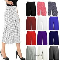 New Womens Printed Ladies Plus Size Stretch Elasticated Wide Leg Culottes Shorts