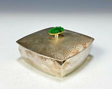 Solid Silver Covered Box with Apple Green Chinese Jade Pendant Finial w 14k Gold