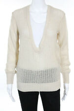 Inhabit Ivory Cashmere Long Sleeve Open Knit V-Neck Sweater Size Small