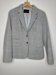 Banana Republic Womens Blazer Gray Basketweave Fitted Lined Wool Blend Size 10