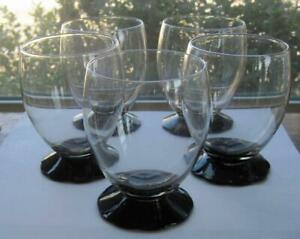 Five Fry Glass Black Petaled 12 oz. Footed Tumblers