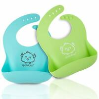 Silicone Baby Bibs - Waterproof Easy Wipe Silicone Bib for Babies Toddlers - ...