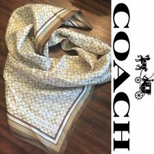 """Coach Signature C's Womens Silk Scarf 23"""" - Tan White and Brown"""